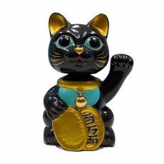 画像1: BOBBLING HEAD LUCKY CAT FULL COLOR BLACK x BLUE Ver.[名入れサービス] (1)