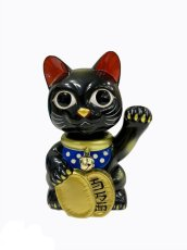画像1:  BOBBLING HEAD LUCKY CAT FULL COLOR BLACK Ver.[名入れサービス] (1)